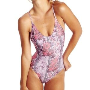 Wildfox Boho Floral Print One Piece Swimsuit